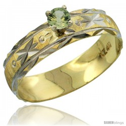 10k Gold Ladies' Solitaire 0.25 Carat Green Sapphire Engagement Ring Diamond-cut Pattern Rhodium Accent, 3/16 -Style 10y506er