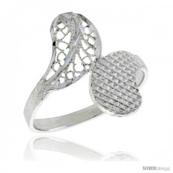Sterling Silver Leaf Filigree Ring, 3/4 in