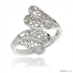 Sterling Silver Fan-shaped Filigree Ring, 3/4 in -Style Fr475