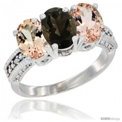 14K White Gold Natural Smoky Topaz & Morganite Sides Ring 3-Stone Oval 7x5 mm Diamond Accent