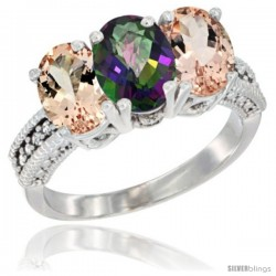 14K White Gold Natural Mystic Topaz & Morganite Sides Ring 3-Stone Oval 7x5 mm Diamond Accent