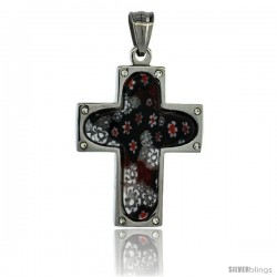 Stainless Steel Millefiori Cross Pendant, 1 1/2 in tall, w/ 30 in Chain