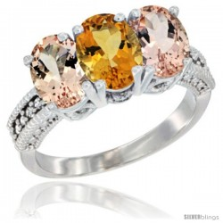 14K White Gold Natural Citrine & Morganite Sides Ring 3-Stone Oval 7x5 mm Diamond Accent