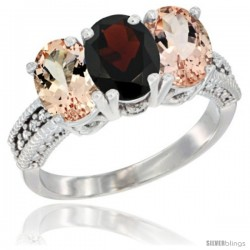 14K White Gold Natural Garnet & Morganite Sides Ring 3-Stone Oval 7x5 mm Diamond Accent