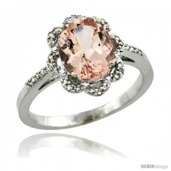 14k White Gold Diamond Halo Morganite Ring 1.7 Carat Oval Shape 9X7 mm, 7/16 in (11mm) wide