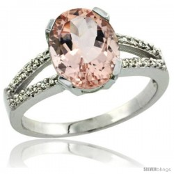 14k White Gold and Diamond Halo Morganite Ring 2.4 carat Oval shape 10X8 mm, 3/8 in (10mm) wide