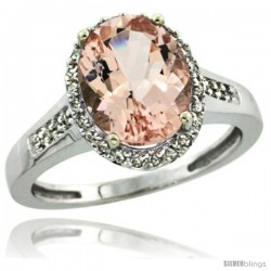 14k White Gold Diamond Morganite Ring 2.5 ct Oval Stone 10x8 mm, 1/2 in wide