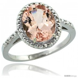 14k White Gold Diamond Morganite Ring 2.4 ct Oval Stone 10x8 mm, 1/2 in wide
