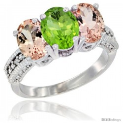 14K White Gold Natural Peridot & Morganite Sides Ring 3-Stone Oval 7x5 mm Diamond Accent