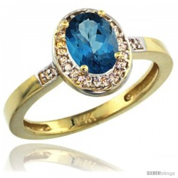 14k Yellow Gold Diamond London Blue Topaz Ring 1 ct 7x5 Stone 1/2 in wide
