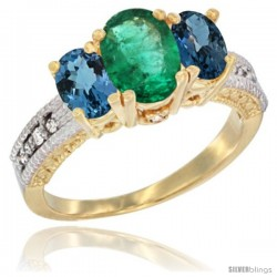 14k Yellow Gold Ladies Oval Natural Emerald 3-Stone Ring with London Blue Topaz Sides Diamond Accent