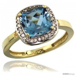 14k Yellow Gold Diamond London Blue Topaz Ring 2.08 ct Checkerboard Cushion 8mm Stone 1/2.08 in wide