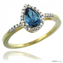 14k Yellow Gold Diamond London Blue Topaz Ring 0.59 ct Tear Drop 7x5 Stone 3/8 in wide