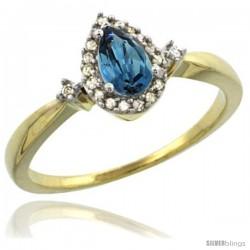 14k Yellow Gold Diamond London Blue Topaz Ring 0.33 ct Tear Drop 6x4 Stone 3/8 in wide