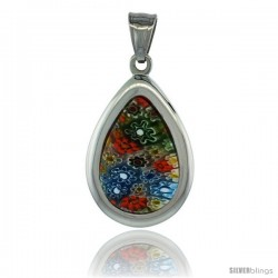 Stainless Steel Millefiori Teardrop Pendant, 1 1/4 in tall, w/ 30 in Chain