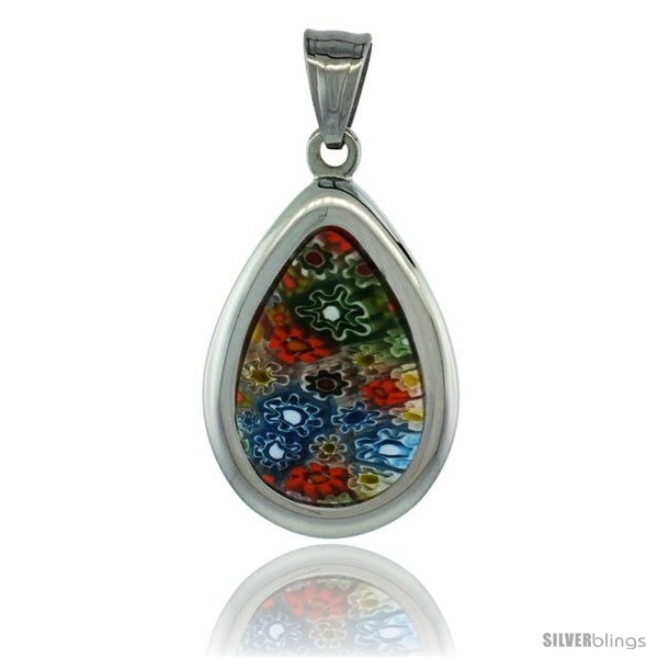 https://www.silverblings.com/3090-thickbox_default/stainless-steel-millefiori-teardrop-pendant-1-1-4-in-tall-w-30-in-chain.jpg