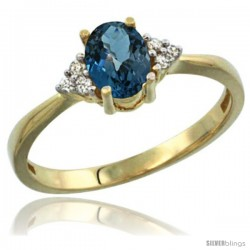 14k Yellow Gold Ladies Natural London Blue Topaz Ring oval 7x5 Stone Diamond Accent