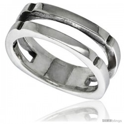 Sterling Silver Center Cut-out Ring 3/8 wide