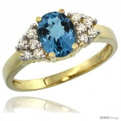 14k Yellow Gold Ladies Natural London Blue Topaz Ring oval 8x6 Stone Diamond Accent