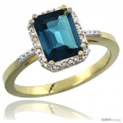 14k Yellow Gold Ladies Natural London Blue Topaz Ring Emerald-shape 8x6 Stone Diamond Accent