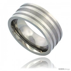 Surgical Steel 9mm Wedding Band Ring 3 Stripes Comfort-Fit