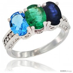 14K White Gold Natural Swiss Blue Topaz, Emerald & Blue Sapphire Ring 3-Stone 7x5 mm Oval Diamond Accent