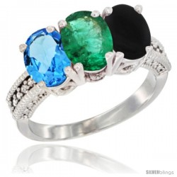 14K White Gold Natural Swiss Blue Topaz, Emerald & Black Onyx Ring 3-Stone 7x5 mm Oval Diamond Accent