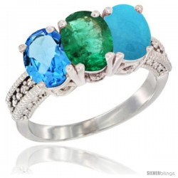 14K White Gold Natural Swiss Blue Topaz, Emerald & Turquoise Ring 3-Stone 7x5 mm Oval Diamond Accent