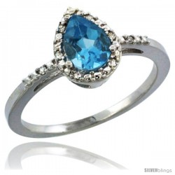 14k White Gold Diamond Swiss Blue Topaz Ring 0.59 ct Tear Drop 7x5 Stone 3/8 in wide
