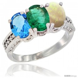 14K White Gold Natural Swiss Blue Topaz, Emerald & Opal Ring 3-Stone 7x5 mm Oval Diamond Accent