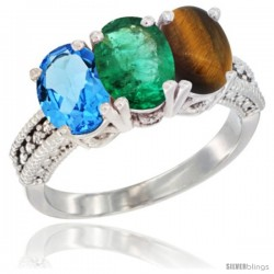 14K White Gold Natural Swiss Blue Topaz, Emerald & Tiger Eye Ring 3-Stone 7x5 mm Oval Diamond Accent