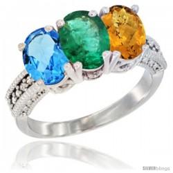 14K White Gold Natural Swiss Blue Topaz, Emerald & Whisky Quartz Ring 3-Stone 7x5 mm Oval Diamond Accent