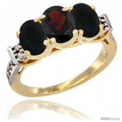 10K Yellow Gold Natural Garnet & Black Onyx Sides Ring 3-Stone Oval 7x5 mm Diamond Accent