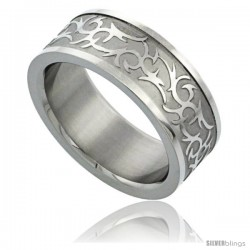 Surgical Steel 8mm Tribal Design Ring Wedding Band