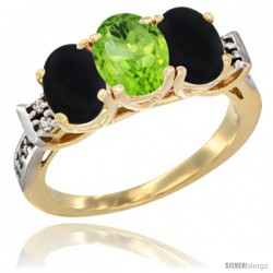 10K Yellow Gold Natural Peridot & Black Onyx Sides Ring 3-Stone Oval 7x5 mm Diamond Accent