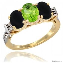10K Yellow Gold Natural Peridot & Black Onyx Sides Ring 3-Stone Oval 7x5 mm Diamond Accent