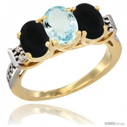 10K Yellow Gold Natural Aquamarine & Black Onyx Sides Ring 3-Stone Oval 7x5 mm Diamond Accent