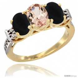 10K Yellow Gold Natural Morganite & Black Onyx Sides Ring 3-Stone Oval 7x5 mm Diamond Accent