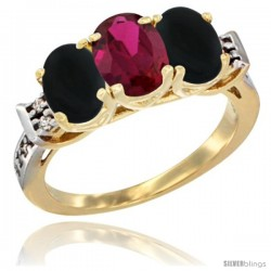 10K Yellow Gold Natural Ruby & Black Onyx Sides Ring 3-Stone Oval 7x5 mm Diamond Accent