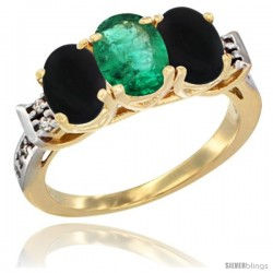 10K Yellow Gold Natural Emerald & Black Onyx Sides Ring 3-Stone Oval 7x5 mm Diamond Accent