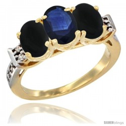 10K Yellow Gold Natural Blue Sapphire & Black Onyx Sides Ring 3-Stone Oval 7x5 mm Diamond Accent