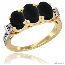 10K Yellow Gold Natural Black Onyx Ring 3-Stone Oval 7x5 mm Diamond Accent