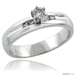10k White Gold Diamond Engagement Ring w/ 0.25 Carat Brilliant Cut Diamonds, 3/16 in. (4.5mm) wide