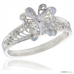 Sterling Silver Butterfly Filigree Ring, 3/8 in