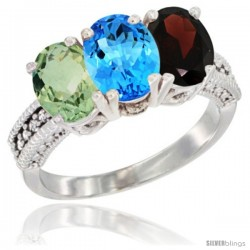 14K White Gold Natural Green Amethyst, Swiss Blue Topaz & Garnet Ring 3-Stone 7x5 mm Oval Diamond Accent