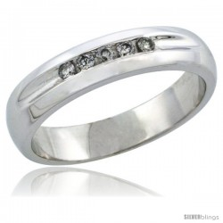 10k White Gold Ladies' Diamond Ring Band w/ 0.10 Carat Brilliant Cut Diamonds, 3/16 in. (4.5mm) wide