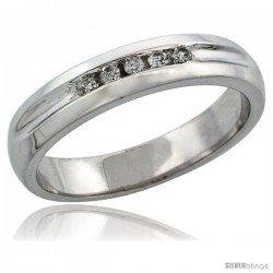 10k White Gold Men's Diamond Ring Band w/ 0.10 Carat Brilliant Cut Diamonds, 3/16 in. (4.5mm) wide