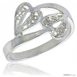 Sterling Silver Double Heart Filigree Ring, 1/2 in -Style Fr493