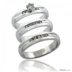 10k White Gold 3-Piece Trio His (4.5mm) & Hers (4.5mm) Diamond Wedding Ring Band Set w/ 0.45 Carat Brilliant Cut Diamonds