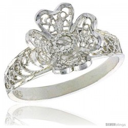 Sterling Silver Flower w/ Heart-shaped Petals Filigree Ring, 1/2 in